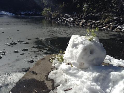 三四郎池、雪だるま?