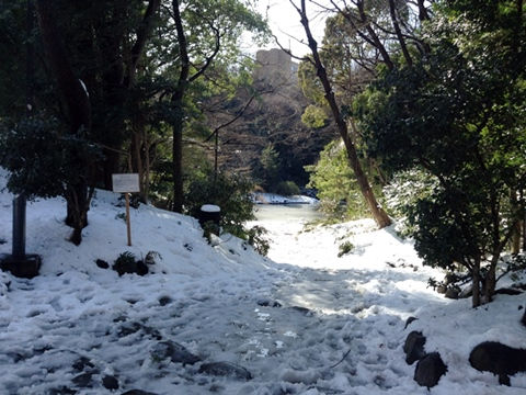 三四郎池、積雪