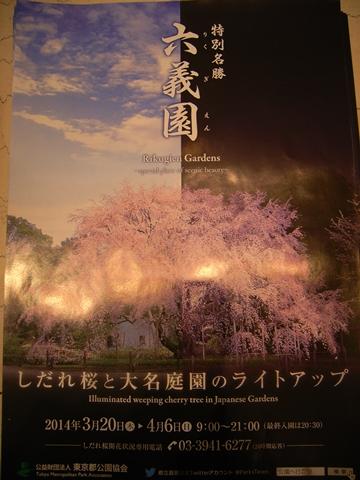六義園、しだれ桜ライトアップのポスター