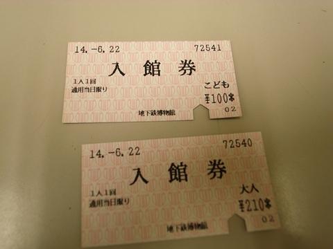 地下鉄博物館、切符