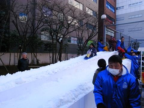 小川町雪だるまフェア、そり滑り
